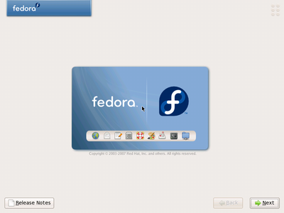 Start of Fedora installation
