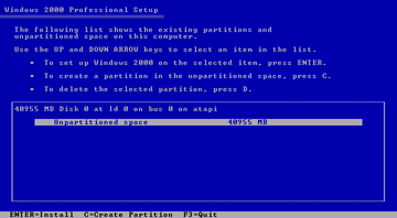 Windows 2000 setup