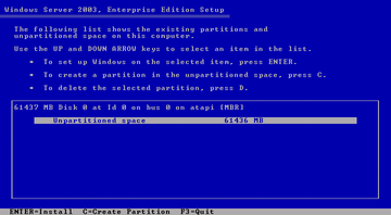 Windows Server 2003 setup