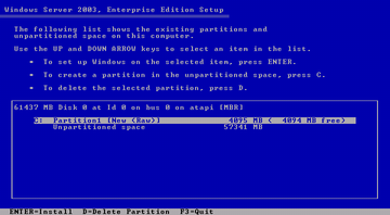 Windows Server 2003 after partitioning
