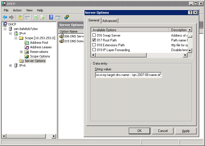Windows DHCP server configuration