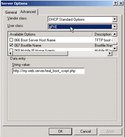 Defining the filename for gPXE clients in Windows