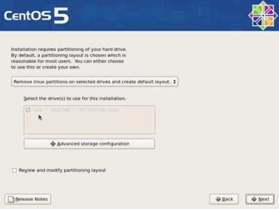 CentOS partitioning screen