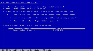 Windows 2000 after partitioning